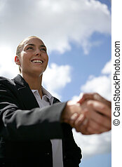 businesswoman and a partner shaking hands