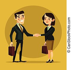Businesswoman and businessman characters shaking hands. Vector flat cartoon illustration
