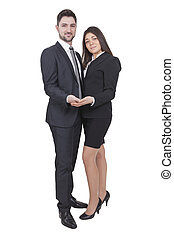 Businesswoman and businessman holding something in their hands