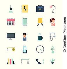 Businesswoman and businessman icons set illustration