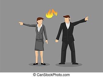 Businesswoman and Businessman in Disagreement Vector ...