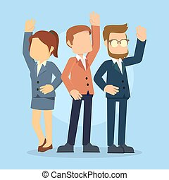 businesswoman and businessman raise their hands