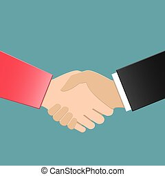 Businesswoman and businessman shaking hands