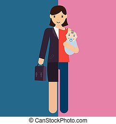 businesswoman and mother, career and motherhood divided