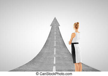 businesswoman and road concept  on white background
