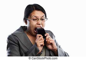 Businesswoman angry expression using video call