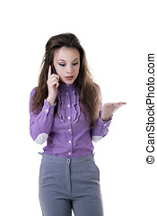 Businesswoman angry on the phone isolated on white