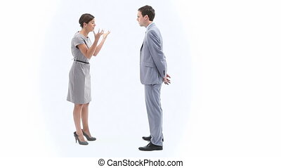 Businesswoman annoyed next to a col