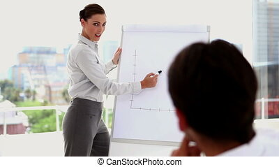Businesswoman answering question suring presentation