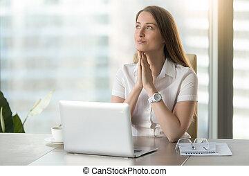 Businesswoman anticipates dearest wish comes true