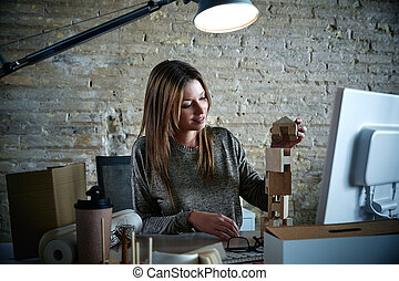 Businesswoman architect working at office