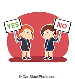 Businesswoman arguing using yes and no sign