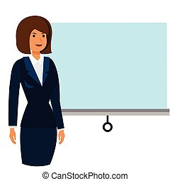 businesswoman at business conference cartoon flat vector illustration concept on isolated white background