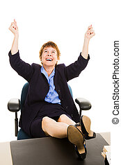 Businesswoman at Desk - Elated