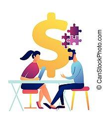 Businesswoman at desk helps businessman solve puzzle vector illustration.
