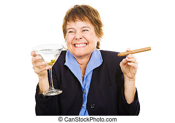 Businesswoman at Happy Hour - Business woman feeling tipsy...