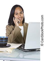 Businesswoman at Her Desk Working