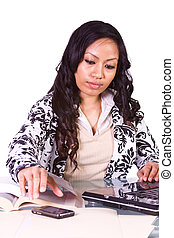 Businesswoman at His Desk Working