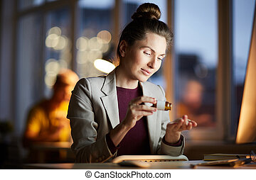 Businesswoman at Night - Portrait of young businesswoman ...