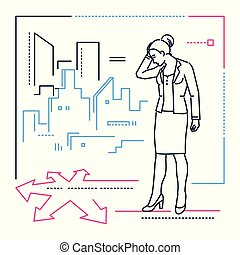 Businesswoman at the crossroads - line design style illustration