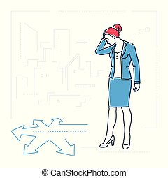 Businesswoman at the crossroads - line design style isolated illustration