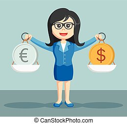 businesswoman balancing euro coins and dollar