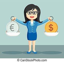 businesswoman balancing euro coins