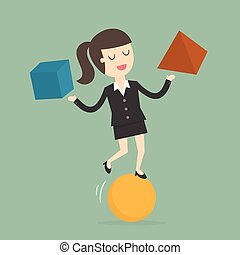 Businesswoman Balancing On the Ball.