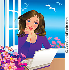 Beautiful businesswoman. Vector art-illustration.