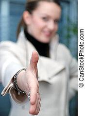 .businesswoman, bereit, schütteln hände