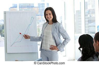 businesswoman, berichtgeving, figuren, omzet