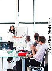 businesswoman, berichtgeving, figuren, verkopen vergadering