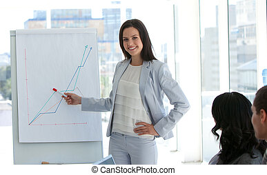 businesswoman, berichtgeving, om te, verkoopcijfer