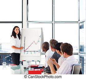businesswoman, berichtgeving, verkoopcijfer, om te, haar,...