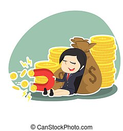 businesswoman beside money sack holding coin magnet