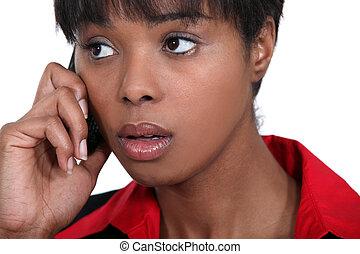businesswoman, betrokken, telefoon