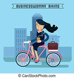Businesswoman Biking. Businesswoman Riding a Bicycle. Modern Lifestyle. Woman Biking in the City. Businesswoman on Bicycle. Vector illustration