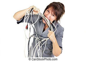 businesswoman biting wires
