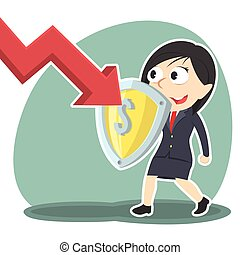 businesswoman blocking down graph with shield