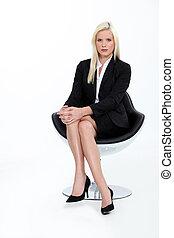 businesswoman, blonde, 射击, 工作室, 衣服