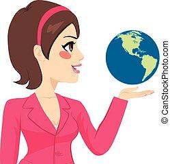 businesswoman, bovenkant, vasthouden, wereld