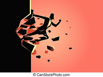 Businesswoman breaking the wall - Silhouette illustration of...