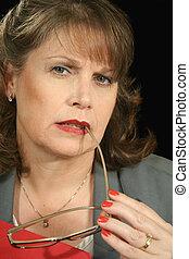 businesswoman, brochuren, 4, rød
