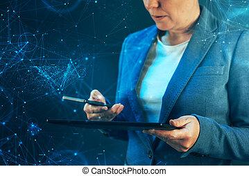 businesswoman, bruge, bevægelig telefoner., og, tablet, computer