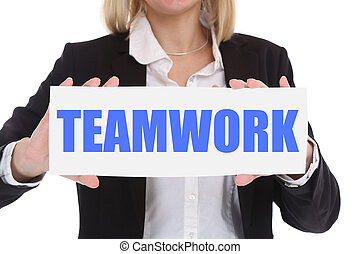 Businesswoman business concept with teamwork working together in a team