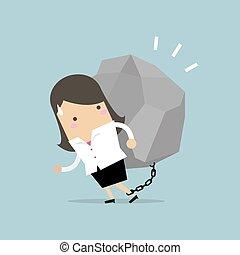 Businesswoman carrying a big rock.