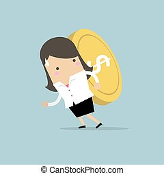 Businesswoman carrying big and heavy gold coin on her back.
