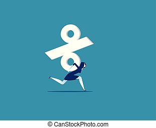 Businesswoman carrying percentage sign. Concept business ...