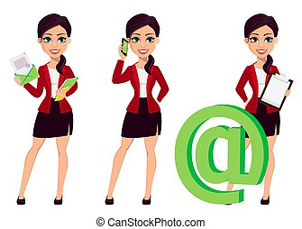 Businesswoman cartoon character. Beautiful woman