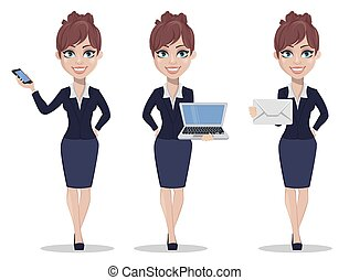 Beautiful business woman in office style clothes